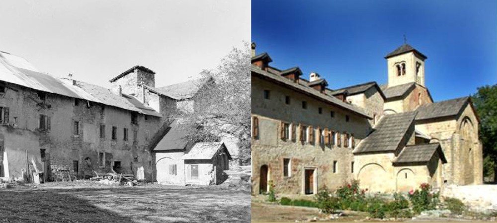 Aile des moines à l'abbaye de Boscodon avant-après restauration